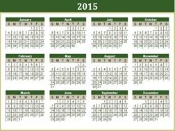 Calendários desportivos 2015