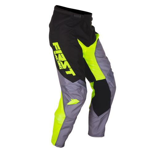 FIRST RACING Calça DATA Cinza/Neon 2018