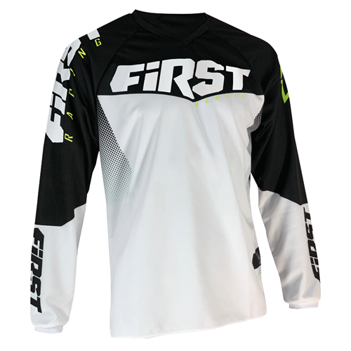 FIRST RACING Camisola GP Branco/Preto/Fluo 2020